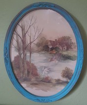 Vintage Homco COTTAGE & SWAN Art! #3280 Oval Glass Picture Lake House Te... - $11.98