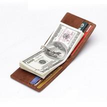 Genuine Leather Men's Bifold Credit Card Holder Money Clip Magic Thin Wallet - $11.45