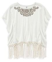 Beautees Girls' Fringe-Hem Top, Natural, Size L - $16.82