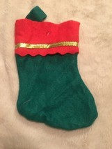 "Mini Christmas Stocking Ornament Green & Red Decor 6"" H x 3.5"" W - $1.43"