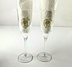 Perrier Jouet Crystal Champagne Flutes Set of 2 Gold PJ Logo in Grand Br... - $29.95