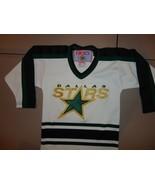 SEWN VINTAGE NHL Hockey White Dallas Stars CCM RARE SPARKLE Jersey Child... - $34.83