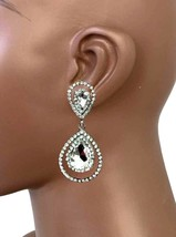 """2.25"""" Long, Clear Glass Rhinestones Clip On earrings, Pageant Drag Queen, Bridal - $15.68"""