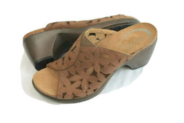 Dansko SIZE 38 US 7.5 Clarissa Full Grain BROWN CLOGS CORKBED Sandals - $59.40
