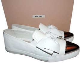 Miu Miu- Prada White Leather Bow Skate Sneakers 37.5 Shoes Pointy Toe Es... - $367.00