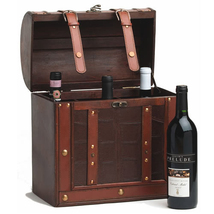 Wine Gift Boxes, Large 6 Bottle Storage Box For Wine - Wood, Faux Leather - $99.98