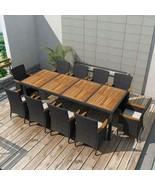 vidaXL Outdoor Dining Set 21 Pieces Poly Rattan Wicker Black Garden Tabl... - $883.99