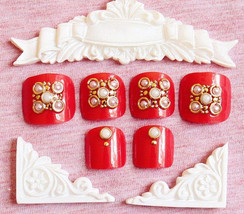 Red with gold and pearls 24 piece glue on toenails set in short length - $9.99