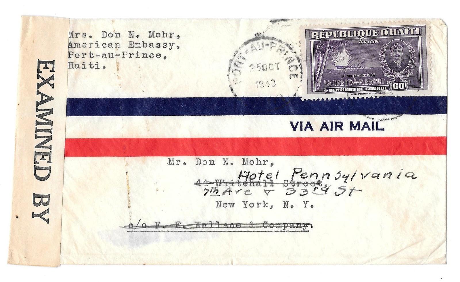 93 haiti c22 air mail  censor 6499 1943