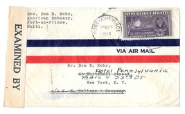 Haiti Censored 1943 Airmail Cover Sc C22 Port au Prince to US Examiner 6499 - $6.69