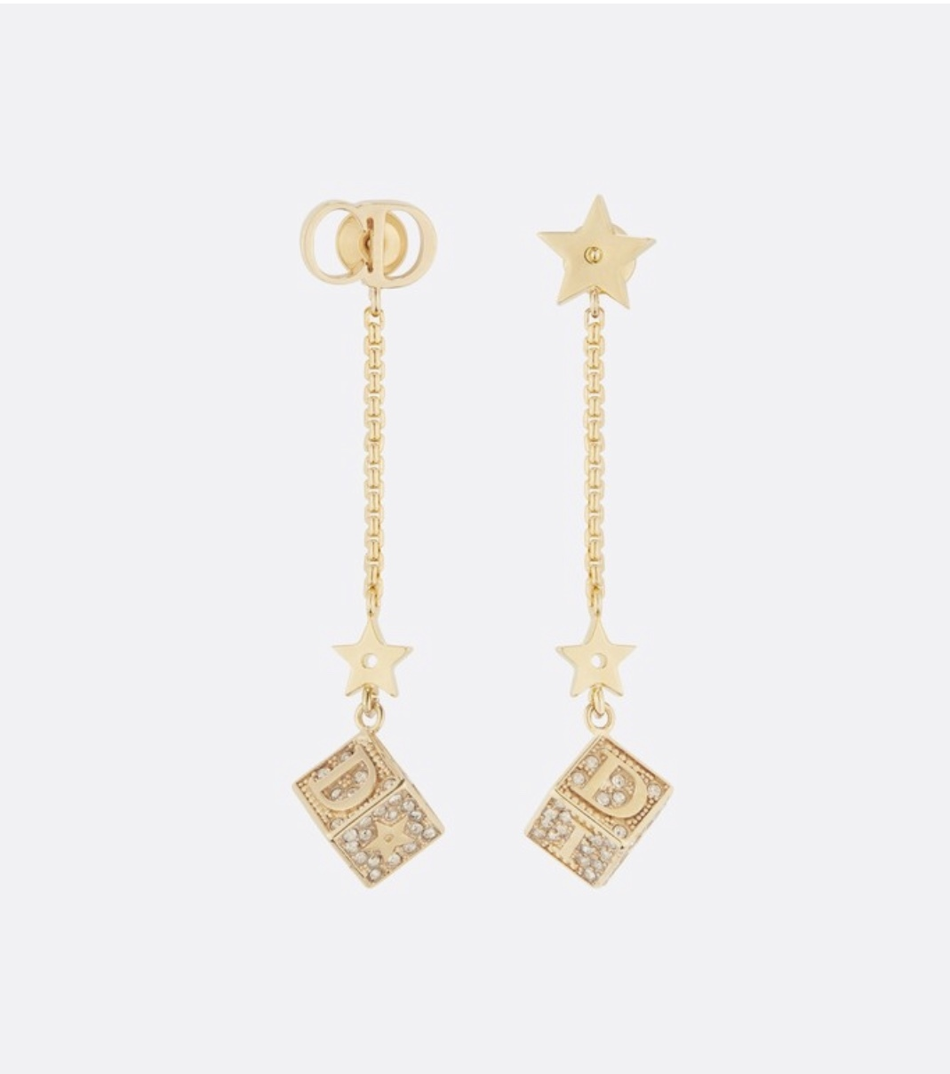 Primary image for Authentic Christian Dior 2019 DIOR LUCKY SQUARE EARRINGS CRYSTAL DANGLE DROP