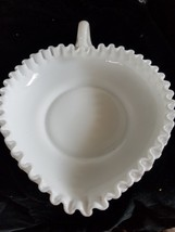 Possibly Fenton Hobnail Milk Glass Leaf Shaped Candy Dish with Ribbon Edge - $14.01