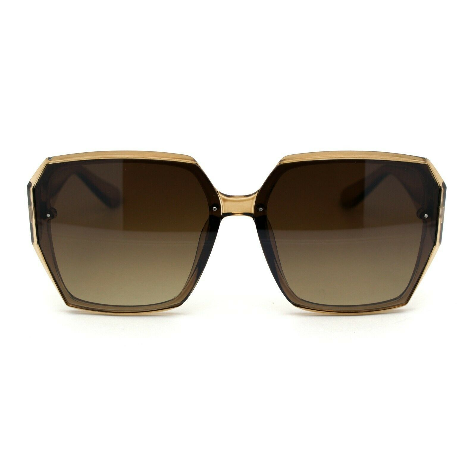 Womens Designer Geometric Exposed Lens Squared Butterfly Sunglasses