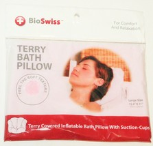 PINK TERRY BATH PILLOW - INFLATABLE WITH SUCTION CUPS & COMFORT BIOSWISS... - $8.88