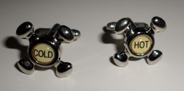 Cuff Links hot cold Faucets casual shirt sleeve gold metal gift boxed H8 - $24.77