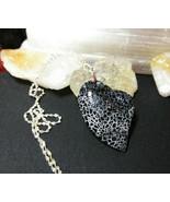 Necklace Black Heart Jasper Pendant Natural Stone Sterling Sliver Gift I... - $14.39