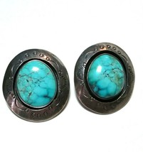 VINTAGE STERLING SILVER SOUTHWESTERN SOUTHWEST PAWN TURQUOISE STAMPED EA... - $125.00