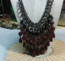 "Vintage Jewelry: 21"" Ruby Colored Dangles, Necklace 17010808 - $9.89"