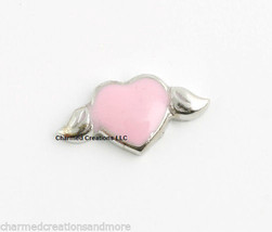 Pink Heart & Wings Silver Tone Floating Charm For Glass Memory Locket Necklaces - $1.97