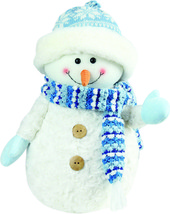"Northlight 11.5"" Arctic Blue White Snowman Wearing Knit Hat Christmas Decor - $16.57"