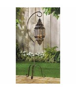 """3 Hanging Lattice Candle Lanterns on Stand Moroccan Style 41"""" High - $122.95"""