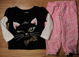 Girl's Size 9-12 M Months Two Piece Black Cat L/S Garanimals Top, Carter... - $15.00