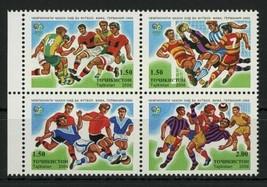 Tajikistan Soccer Sport Cup Block of 4 Stamps Mint NH - $17.30