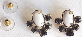 Anthropologie White Oval and Blue Crystal cluster Post Earrings - $24.99