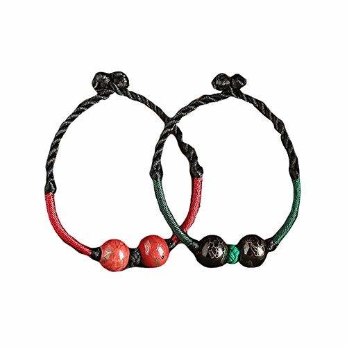 2 Pieces Green and Red Ceramic Hand Made Woven Bracelets 15 CM Bracelets