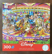 Disney 300 Pc Ceaco Jigsaw Puzzle Mickey and Friends on a Carousel NIB - $19.06