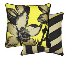 2 X Gold Yellow Black Cream Floral Zigzag Cushion Covers - $48.12