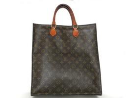 Authentic LOUIS VUITTON Monogram Canvas Leather Sac Plat Tote Bag Handbag - $323.01