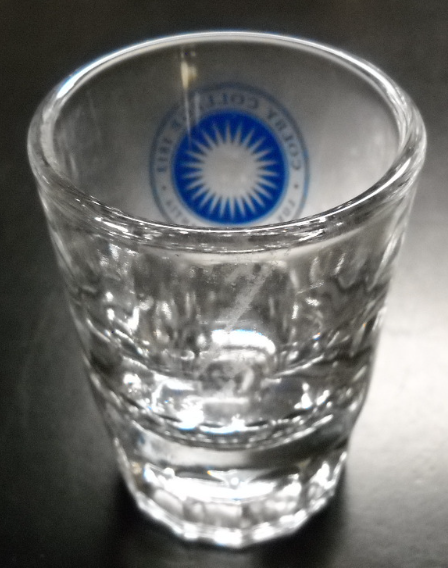 Colby College Shot Glass Double Size Clear Glass Heavy Base Blue Starburst COA