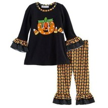 $46-Girls Bonnie Jean 2 Pc Pumpkin Top & Leggings Candycorn Halloween Se... - $22.77