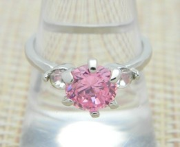 Pink Clear Rhinestone Statement Cocktail Silver Tone Vintage Ring Size 8 - $29.69