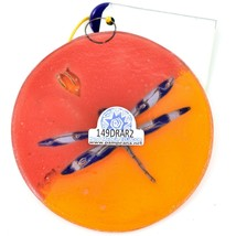 Dragonfly Orange Sunset Fused Art Glass Ornament Handmade in Ecuador image 2