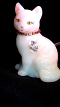 Fenton Glass Iridized White Cat November Birthstone Necklace Topaz - $35.00