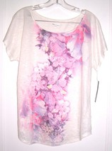 "Apt. 9 ""Secret Beige"" Pink Floral Sheer Cap Sleeve Top NWT$30 Sz PXL - $18.99"