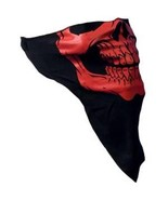 NEW MOTORCYCLE FACE MASK - RED SKULL FACE NECK WARMER - $9.95