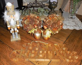 "6"" Amber Jeweled Pine Cone Balls Nut Cracker Acorn Nut Ornament Christmas Lot 32 - $26.71"