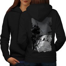 Night Raven Crow Nature Sweatshirt Hoody Birds Play Women Hoodie Back - $21.99+