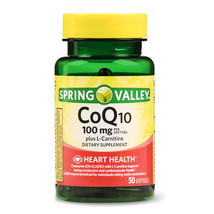 Spring Valley Co Q10 100mg Plus L-Carnitine, Heart Health, 50softgels  - $19.98