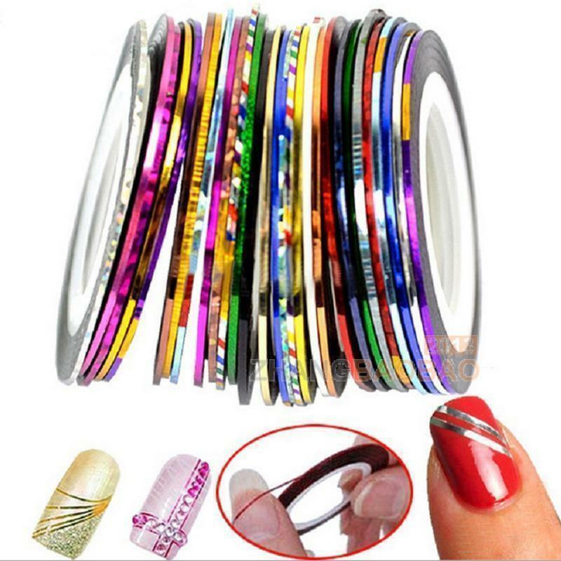 Primary image for AB9: 2PCS RAINBOW Rolls Striping Tape Line Nail Tips Sticker DIY w/Free Gift