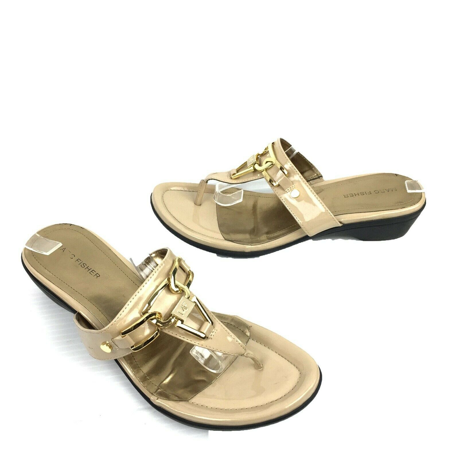 MARC FISHER Tan Faux Patent Leather Thong Sandals Size 10 M