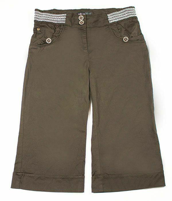 TAKARA GIRLS SIZE XL 16 CHOCOLATE BROWN CROPPED CAPRI PANTS NEW - $14.84