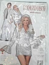 Women's Halloween Costume Cosplay Diamond Disco Silver Mini Dress Size 2... - $19.79