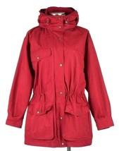 Vtg 90s Eddie Bauer Red Parka Coat Jacket Zip Hood Wool Flannel Lined Wo... - $68.30