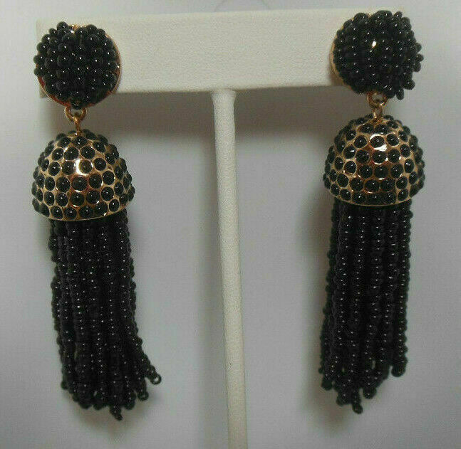 Primary image for Signed BaubleBar Long Black Beaded Tassel Earrings