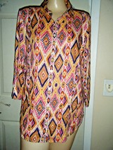 CHICO'S ORANGE/BLACK PRINT LINEN 3/4 SLEEVE SHIRT SIZE CHICO'S 2 - $18.37