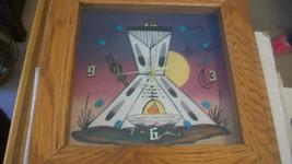 NAVAJO SAND ART CLOCK, TEEPEE by IGNACIO WITH TURQUOISE STONES - $111.37